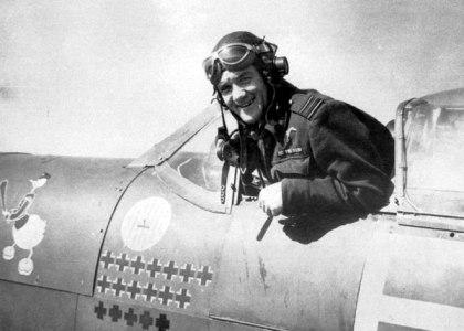 Jan Zumbach w samolocie